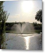Fountain In The Garden Metal Print