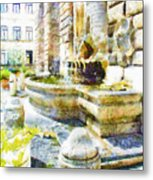 Fountain On The Facade Of The Municipality Metal Print