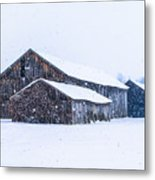 Four Barns In A Snowstorm Metal Print