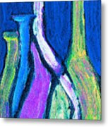Four Bottle Abstract Metal Print