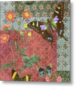 Four Butterfly Patch Green Metal Print