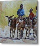 Four Donkey Drawn Cart Metal Print