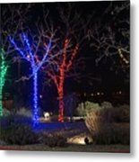 Four Lighted Trees Metal Print