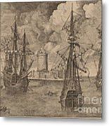 Four-master (left) And Two Three-masters Anchored Near A Fortified Island With A Lighthouse Metal Print