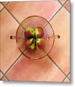 Four Pears In A Bowl On Tile Metal Print