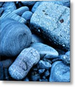Four Rocks In Blue Metal Print