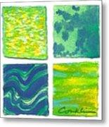 Four Squares Blue, Green, Yellow Metal Print