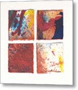 Four Squares Red Flow Metal Print