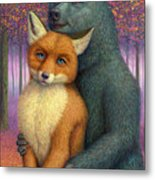 Fox And Bear Couple Metal Print