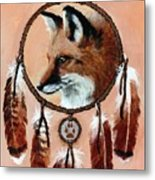 Fox Medicine Wheel Metal Print by Brandy Woods