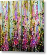 Foxgloves Large Painting Metal Print