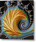 Fractal Art - Blue And Gold Metal Print