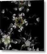 Fractal Floral Pattern Black Metal Print
