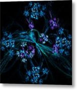 Fractal Forget Me Not Bouquet  Metal Print