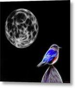 Fractal Moon And Bluebird Metal Print