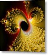 Fractal Spiral Art Yellow Red Metal Effect Metal Print