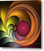 Fractal With Orange, Yellow And Red Metal Print