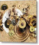 Fragmented Clockwork In The Sand Metal Print