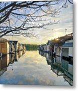 Framed Boathouses Metal Print