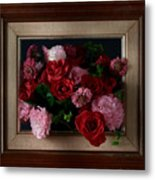 Framed Bouquet Of Flowers Metal Print