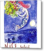 France Nice Soleil Fleurs Vintage 1961 Travel Poster By Marc Chagall Metal Print