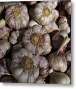 France, Paris Sunday Market Garlic Metal Print