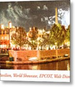 France Pavilion At Night With Fireworks, Epcot, Walt Disney Worl Metal Print