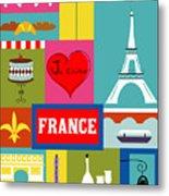 France Vertical Scene - Collage Metal Print