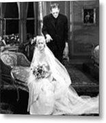 Frankenstein Monster Sneaks Up On Bride 1931 Movie Metal Print