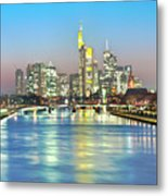 Frankfurt  Night Skyline Metal Print