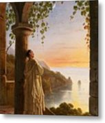 Franz Ludwig Catel  A Monk Meditating In A Cloister Metal Print