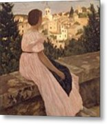 Frederic Bazille   The Pink Dress Metal Print