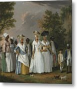 Free Women Of Color With Their Children And Servants In A Landscape Metal Print