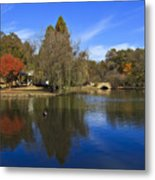 Freedom Park Bridge And Lake In Charlotte Metal Print