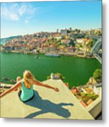 Freedom Woman At Douro River Metal Print