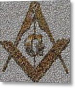 Freemason Coin Mosaic Metal Print