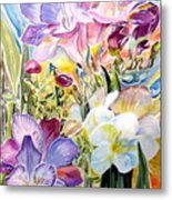 Freesias  Metal Print by Therese AbouNader