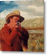 Freeze    Rifleman With Muzzle Loader Western Painting Metal Print