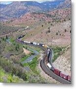 Freight Snaking Through Price Canyon Utah Metal Print