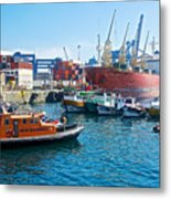 Freighter And Shipping Containers In Port Of Valpaparaiso-chile Metal Print