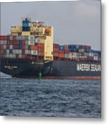 Freighter Headed Out To Sea Metal Print