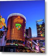Fremont Street Entrance From The East At Dusk Metal Print