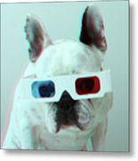 French Bulldog With 3d Glasses Metal Print by Retales Botijero