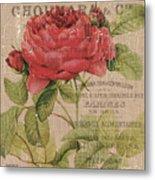 French Burlap Floral 1 Metal Print