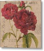 French Burlap Floral 3 Metal Print