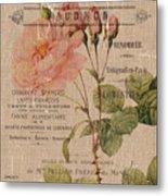 French Burlap Floral 4 Metal Print
