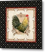 French Country Roosters Quartet Black 3 Metal Print