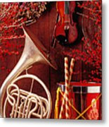 French Horn Christmas Still Life Metal Print