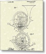 French Horn Musical Instrument 1914 Patent Metal Print