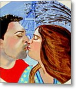 French Kissing At The Eiffel Tower Metal Print